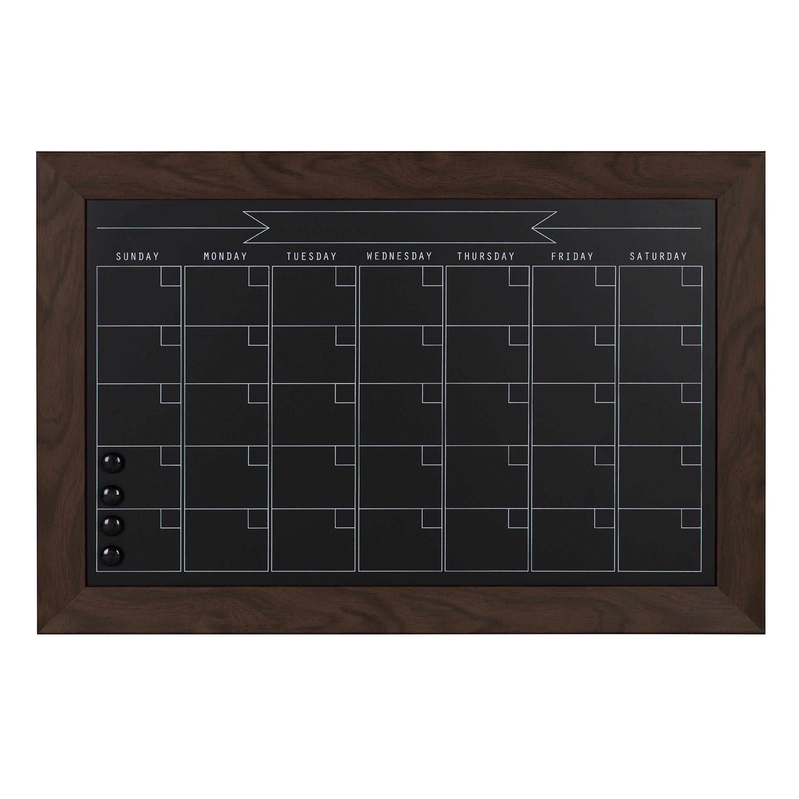DesignOvation Beatrice Framed Magnetic Chalkboard Monthly Calendar, 18x27, Walnut Brown by DesignOvation