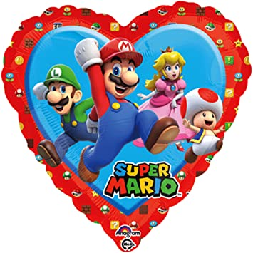 Generique Globo corazón aluminio Super Mario 43 x 43 cm