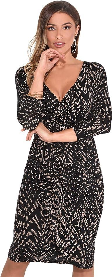 TALLA 38. KRISP Vestido Mujer Ajustado Fiesta Invitada Boda Outlet Corto Colores Tallas Grandes Noche Elegante Cóctel Moca/Negro (6609) 38