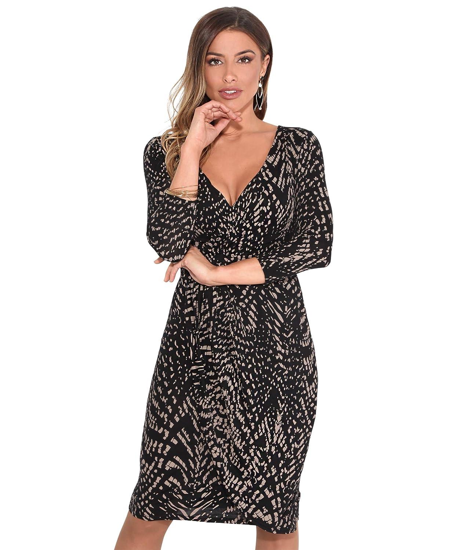 TALLA 36. KRISP Vestido Mujer Ajustado Fiesta Invitada Boda Outlet Corto Colores Tallas Grandes Noche Elegante Cóctel Moca/Negro (6609) 36