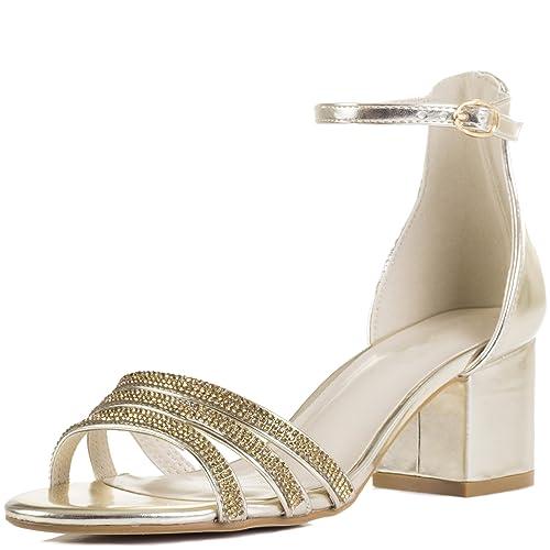 Spylovebuy Diamante Block Heel Sandals Shoes Gold Metallic Sz 4 OxapmW