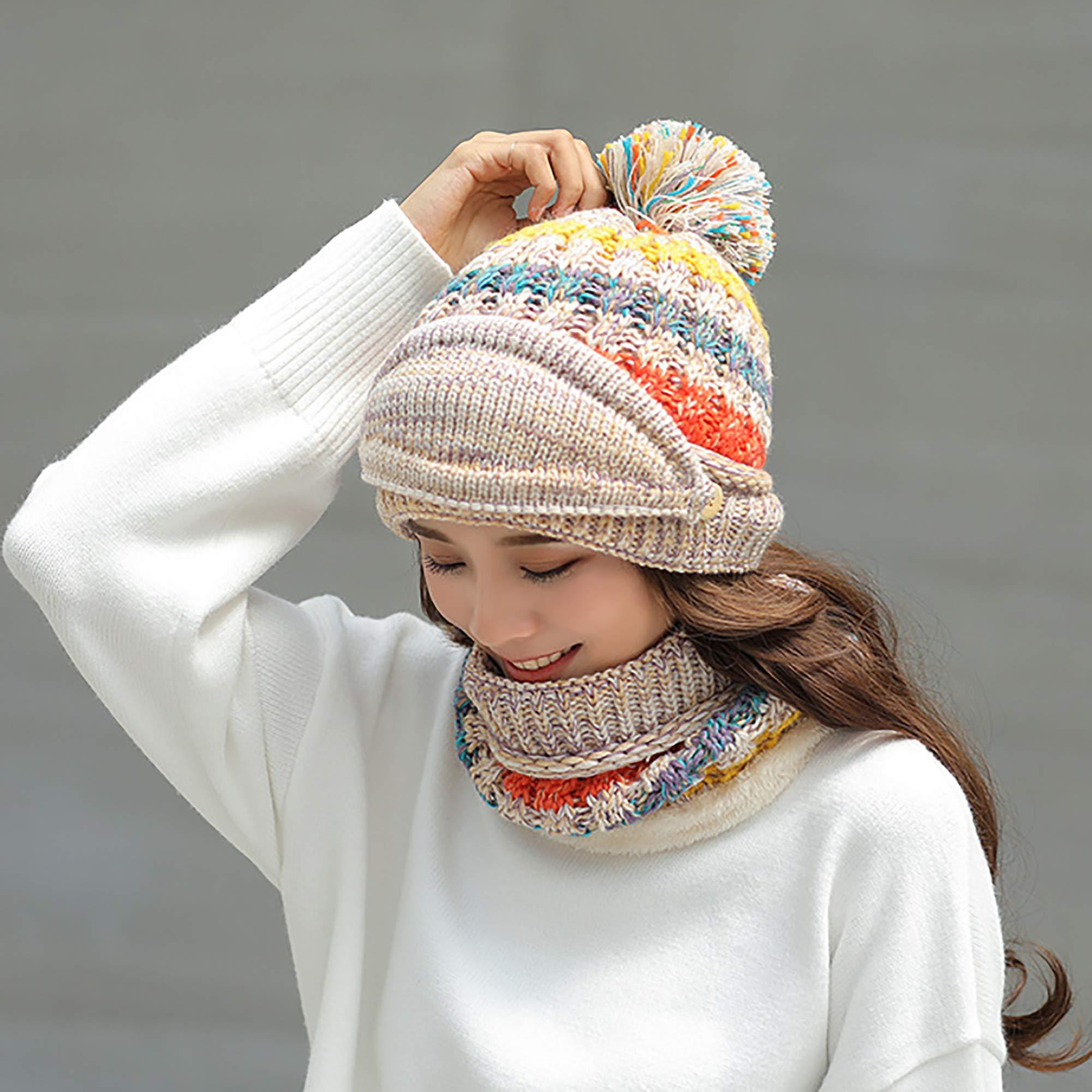 955666ba2 FANZERO Womens Girls Knit Beanie Scarf Mask Set Soft Warm Fleece Lined  Winter Ski Hat with Pompom