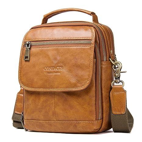 Contacts Real Leather Mens iPad Tab Messenger Crossbody Tote Bag Handbag  (Brown)