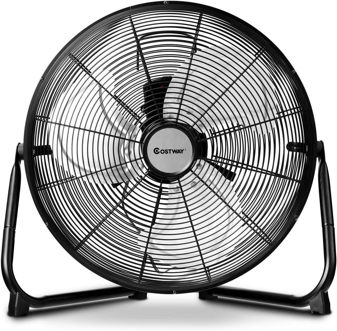 COSTWAY Floor Fan, 16-Inch w 360 Rotation, 3-Speed Adjustable, Commercial Industrial Grade, Metal, Heavy Duty Electric High Velocity Fan, Black