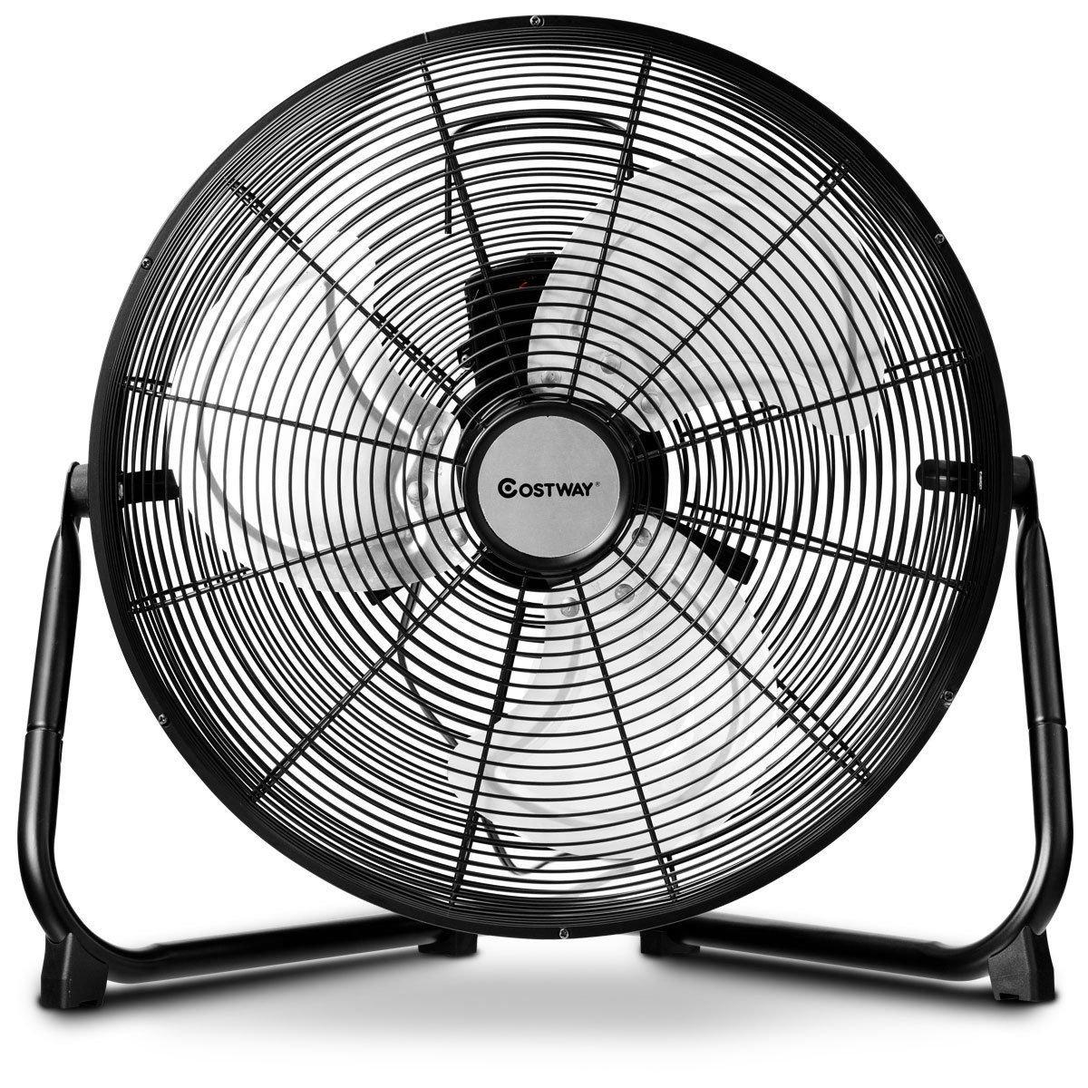 COSTWAY High Velocity Fan 16-Inch 3-Speed Metal Commercial Industrial Grade 360° Floor Fan, Black