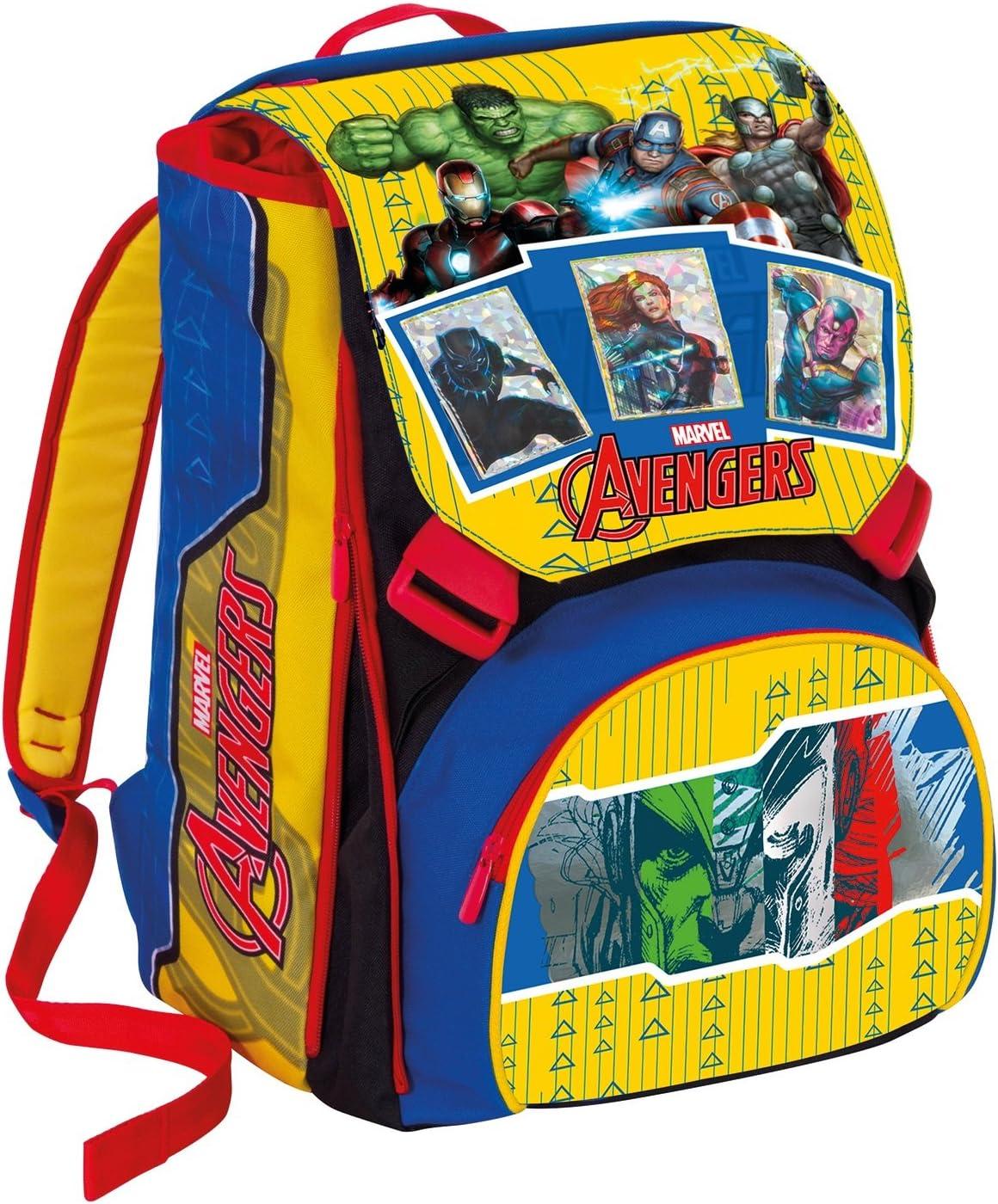 Erweiterbarer Rucksack Marvel Avengers Gelb Rot Magnetkarte Schulranzen 31lt Koffer Rucksäcke Taschen