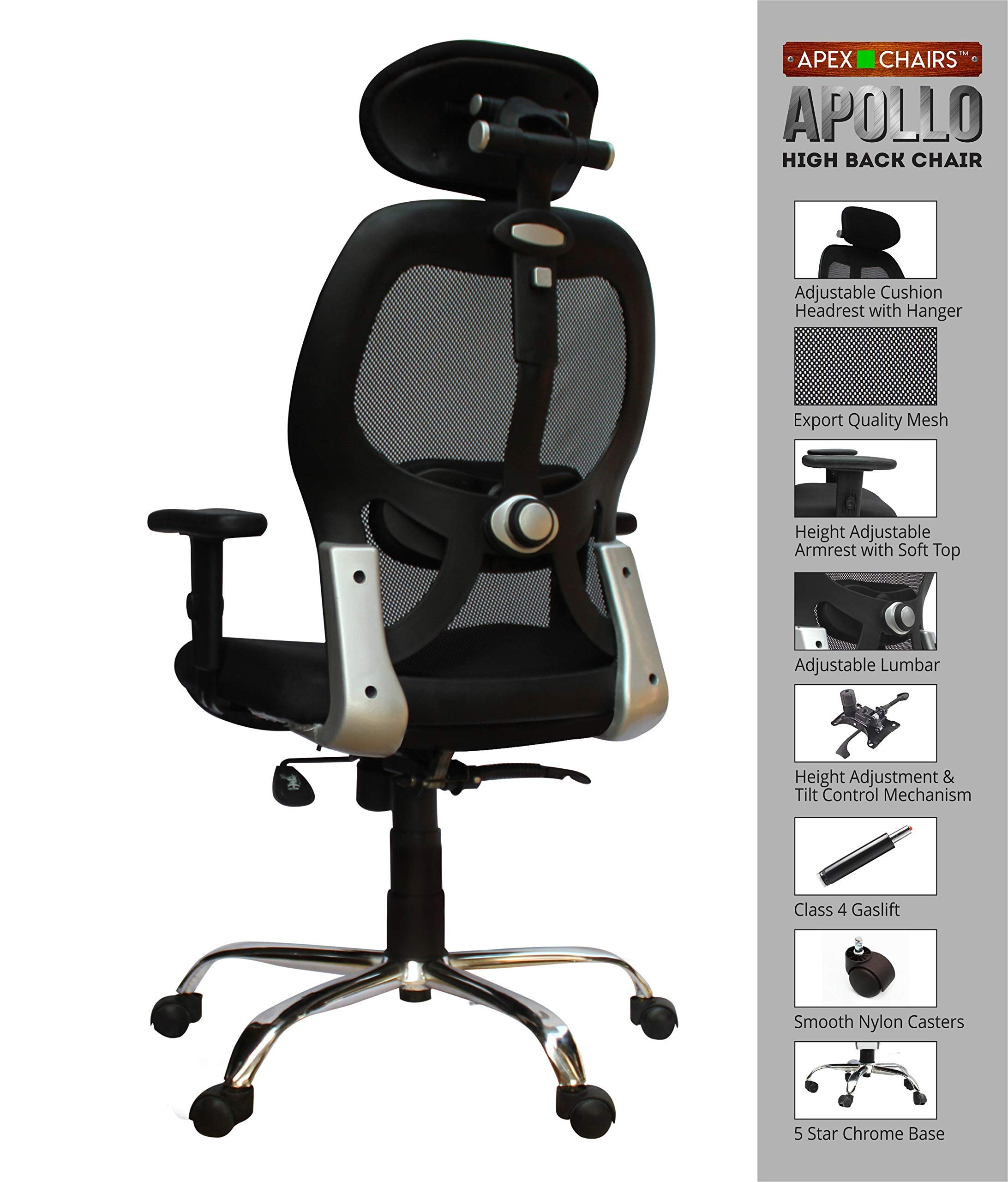 Amazon price history for APEX ChairsTM Apollo Chrome Base HIGH Back Office Chair (English)