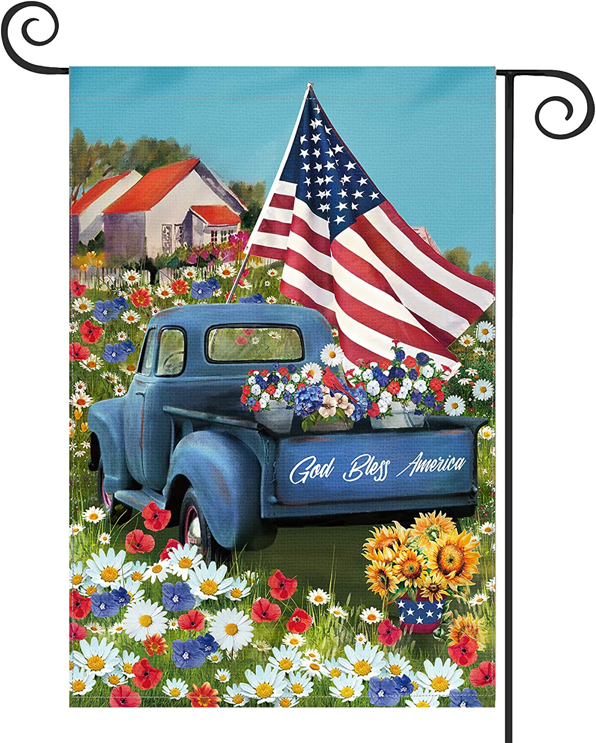 KamaLove God Bless America 4th of July Garden Flag Vertical Double Sided, Independence Day Patriotic Rustic Truck Small Burlap Yard Flag 12×18 Inch, Summer Memorial Decorative Gift for Home Outdoor