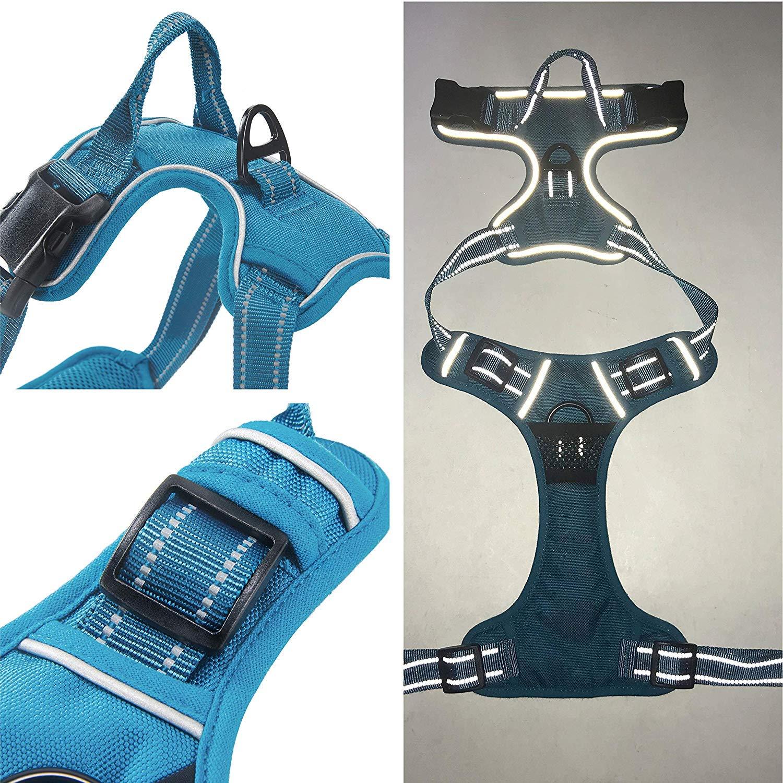 Louvra Pettorina Cane Imbracatura Durevole Regolabile Confortevole in Panno Oxford con Maniglia S-L-M-XL 65-77cm Rosa, L