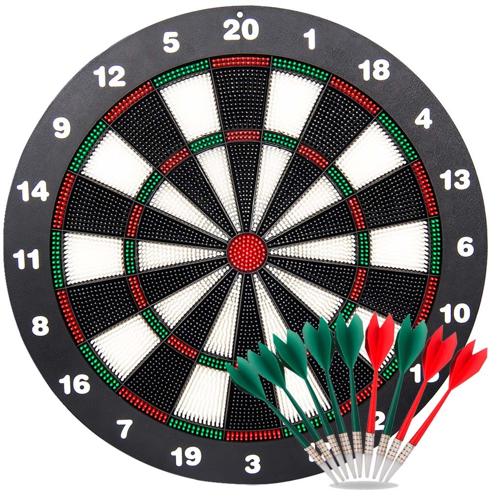 Ylovetoys Safety Dart Board Set for Kids, 16.4 inch Rubber Dart Board with 9 Soft Tip Safety Darts Great Game for Office and Family Leisure Sport (Black&Red)