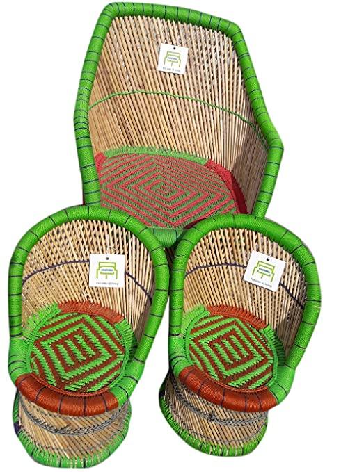 Ecowoodies Rosa Cane/Wooden Breakfast Kitchen Living Room Indoor/Outdoor Balcony Terrace Garden Lawn Cafeteria Restaurant Bar Sitting Kids Chair Furniture Set for Garden Chair (Green+Red)