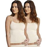 Yenita 2 Pack Camiseta Interior Invisible para Mujer, Microfibra