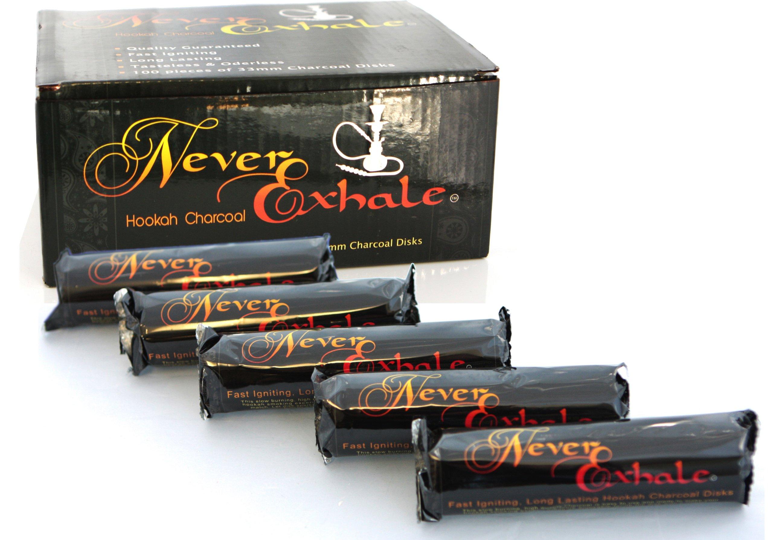 NeverXhale 100pcs 33mm Disk Coal Quick Lighting Chacoal for Hookah