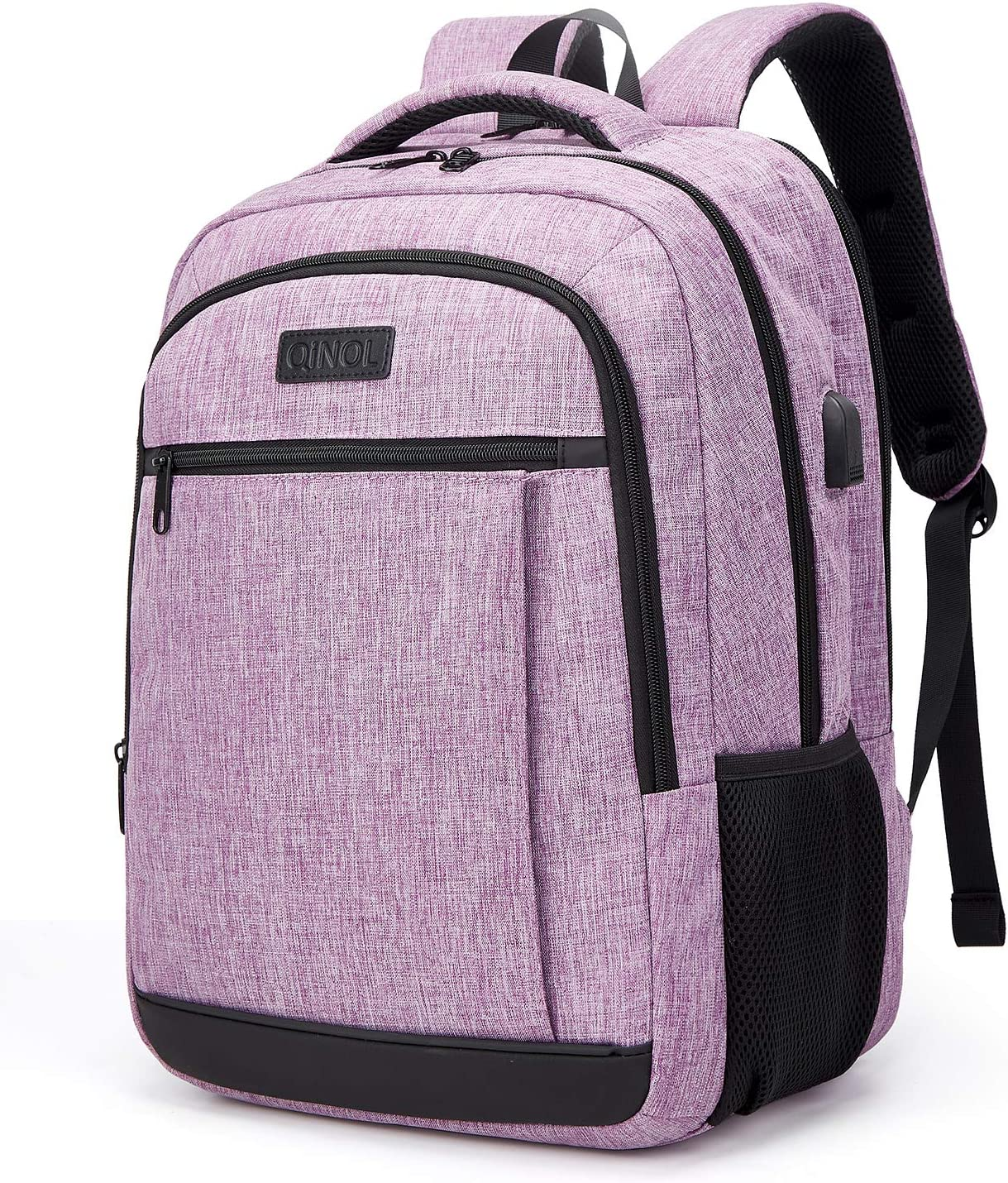 QINOL Travel Laptop Backpack Water-Proof Anti-Theft School Bag with USD Hub for 15.6 Inch Computer, Ultralight Business Bag, 5 Color (Purple)