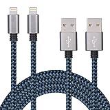 SURWELL Apple Lightning Cable (2PCS 3M Braided) with Aluminum Connector for iPhone 7 7Plus6S Plus 6 Plus SE 5S 5C 5, iPad 2 3 4 Mini, iPad Pro Air, iPod (BlackBlue)