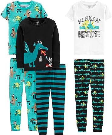 Simple Joys by Carters Niños pijama de satén, Pack de 6