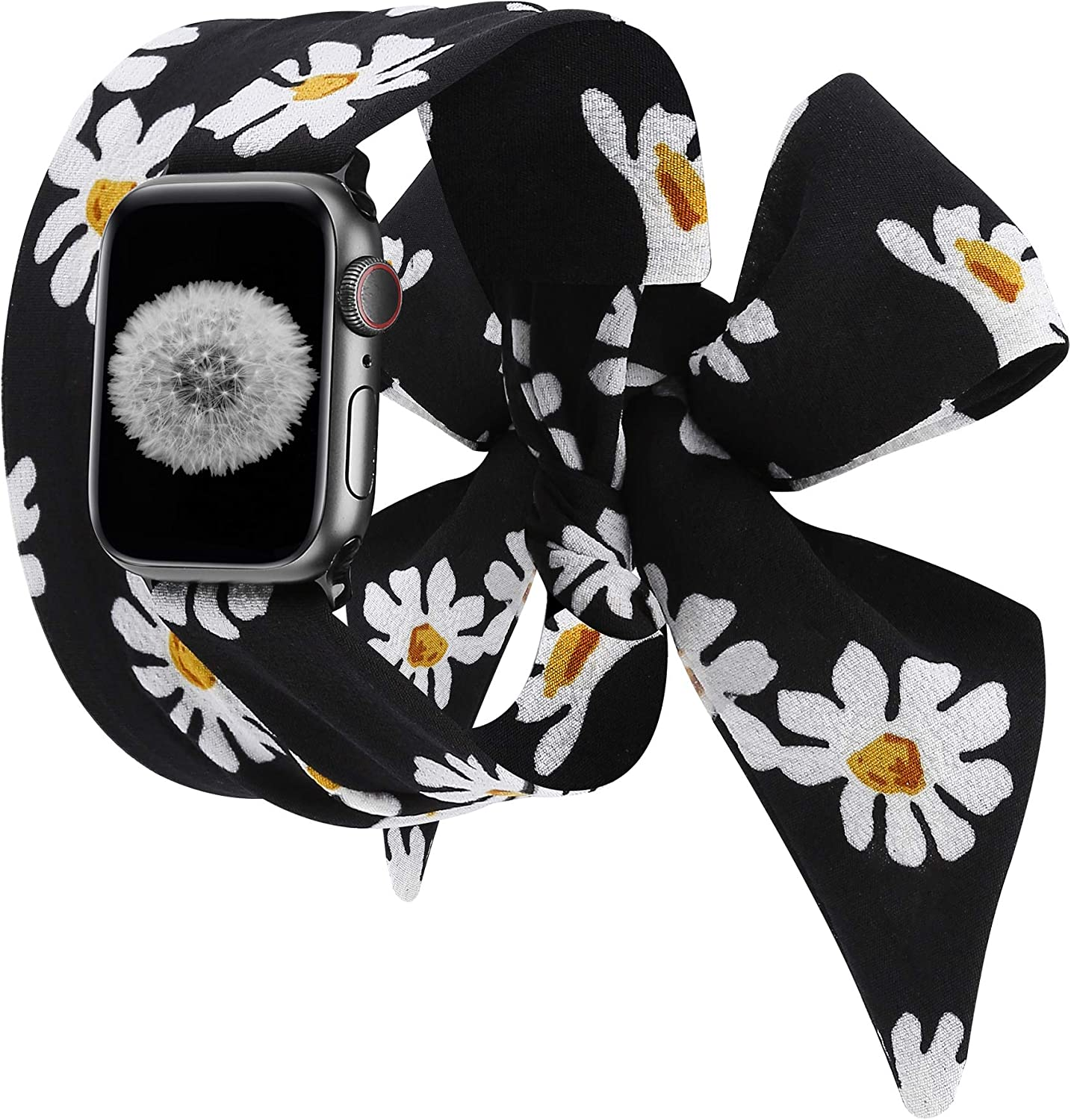Wearlizer Compatible with Apple Watch Scarf Bands 38mm 40mm for iWatch Band Women Girls Fashion Scarf Replacement Wrist Strap for Apple Watch SE Series 6 5 4 3 2 1 - Daisy