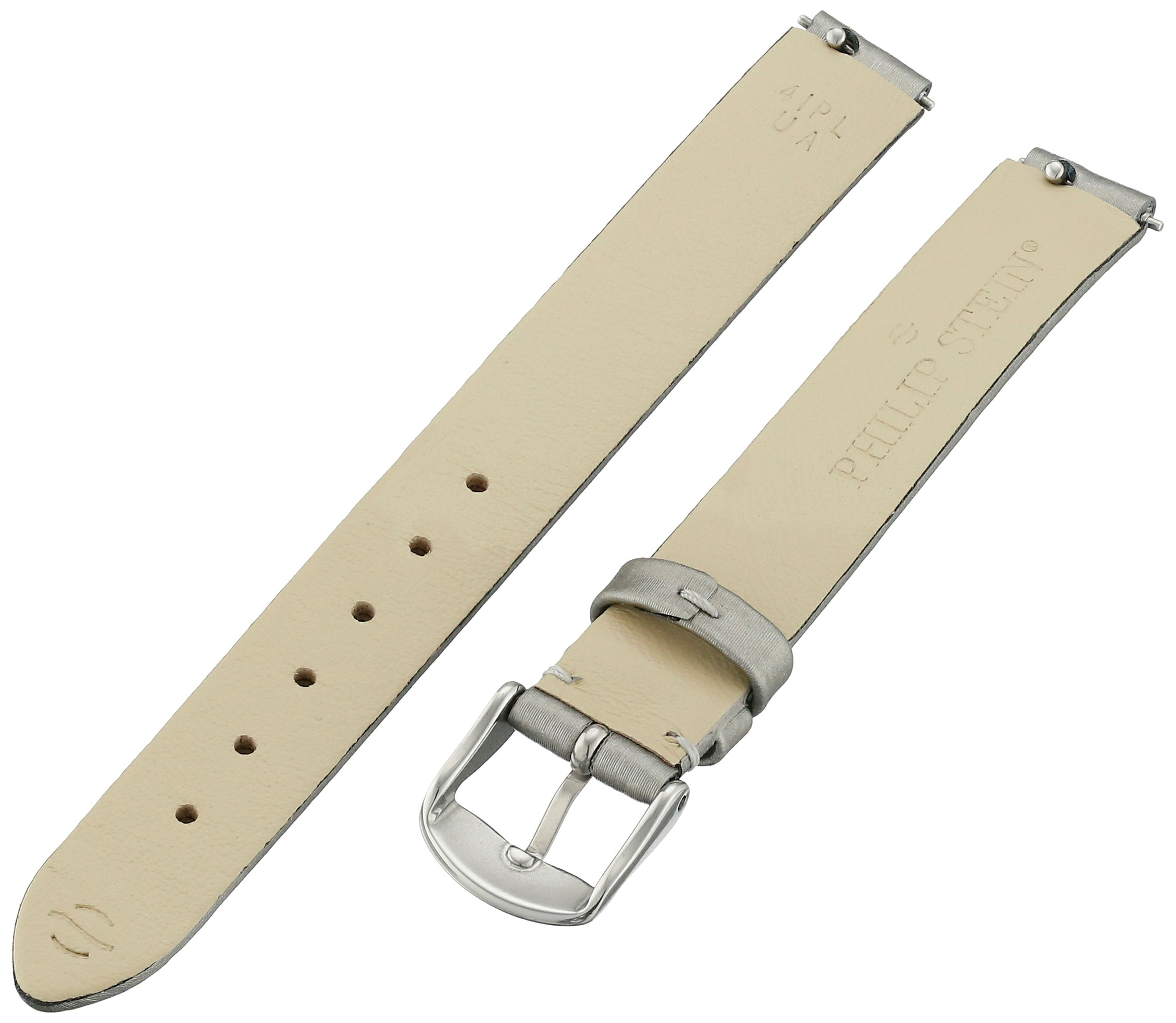 Philip Stein 4-IPL 12mm Leather Calfskin Silver Watch Strap