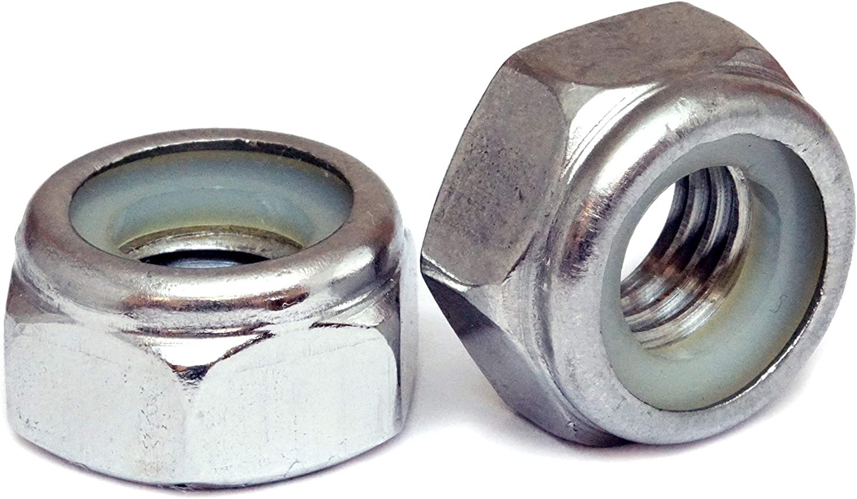 Nylon Insert Locknut M6 x 1.00 Coarse Thread DIN 985 Class 10 Nyloc Standard Medium Carbon Steel Zinc Plated Pk 100