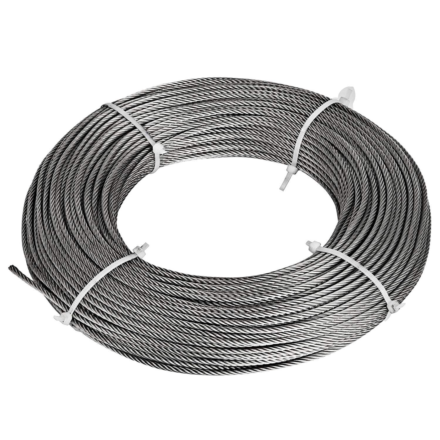 Happybuy 1//8 Inch T304 Stainless Steel Cable 7x7 Strand Winch Rope Aircraft Steel Cable Stainless Steel Wire Rope Cable 1000 Foot