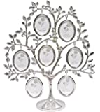 Roman Family Tree Jeweled Silver Finish Metal 11 x 3 Collage Photo Frame Stand