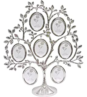 Bronze Finish Metal Family Tree Photo Stand Picture Collage 6 Frames