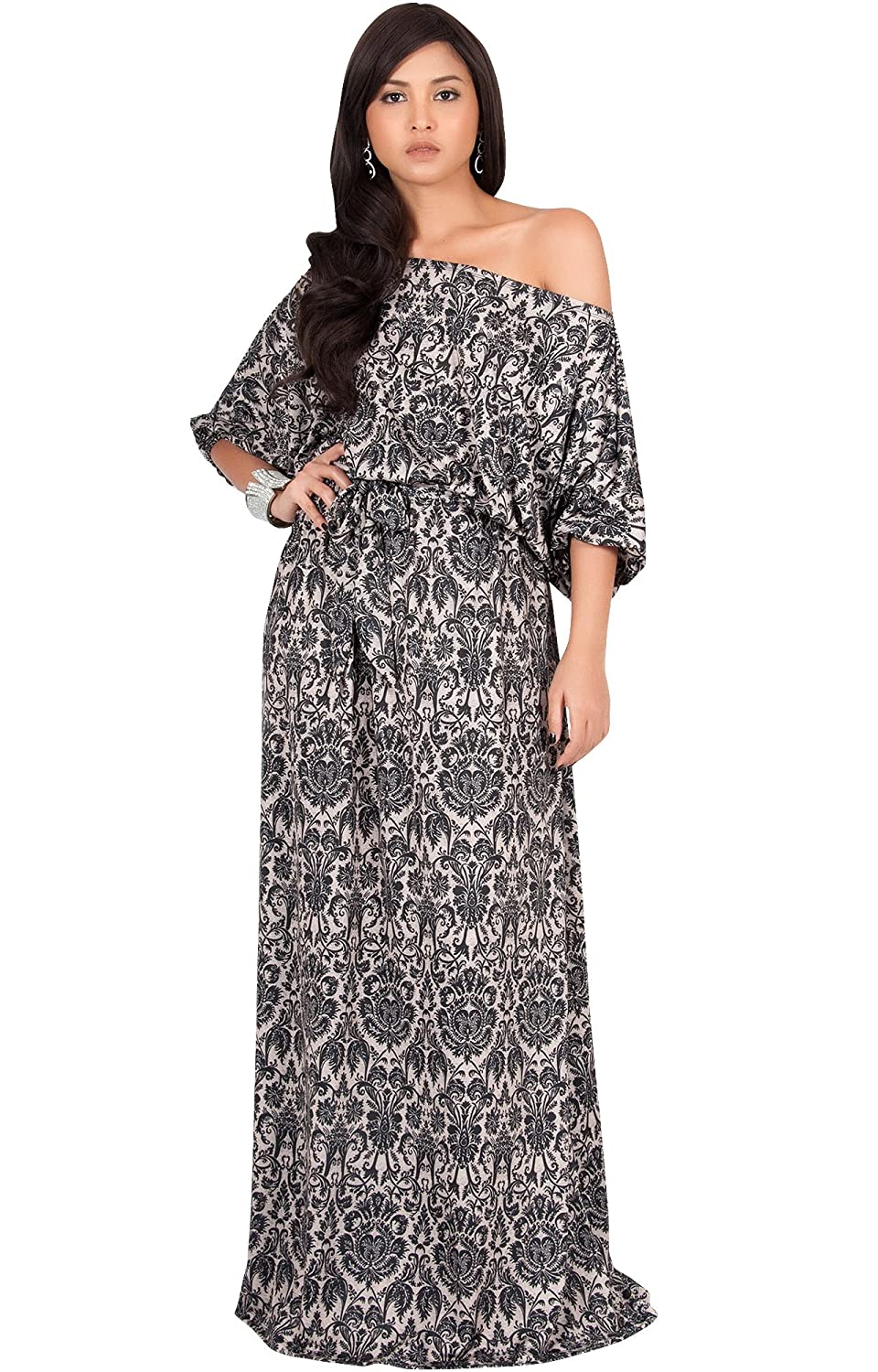 a3b813808020 KOH KOH Womens Long One Shoulder 3 4 Short Sleeve Sexy Summer Boho Maxi  Dress at Amazon Women s Clothing store