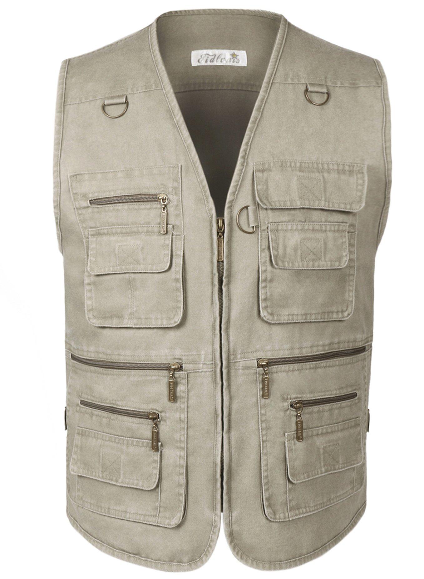 Eidlvais Men's Multi-Pockets Vest For Outdoors Travels Sports Khaki Size XL