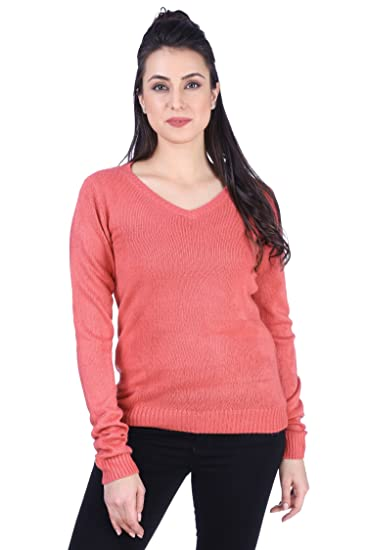 614fc530f1a6 KVL Acrylic Knitted Long Sleeves Pullover for Women-Pink  Amazon.in   Clothing   Accessories