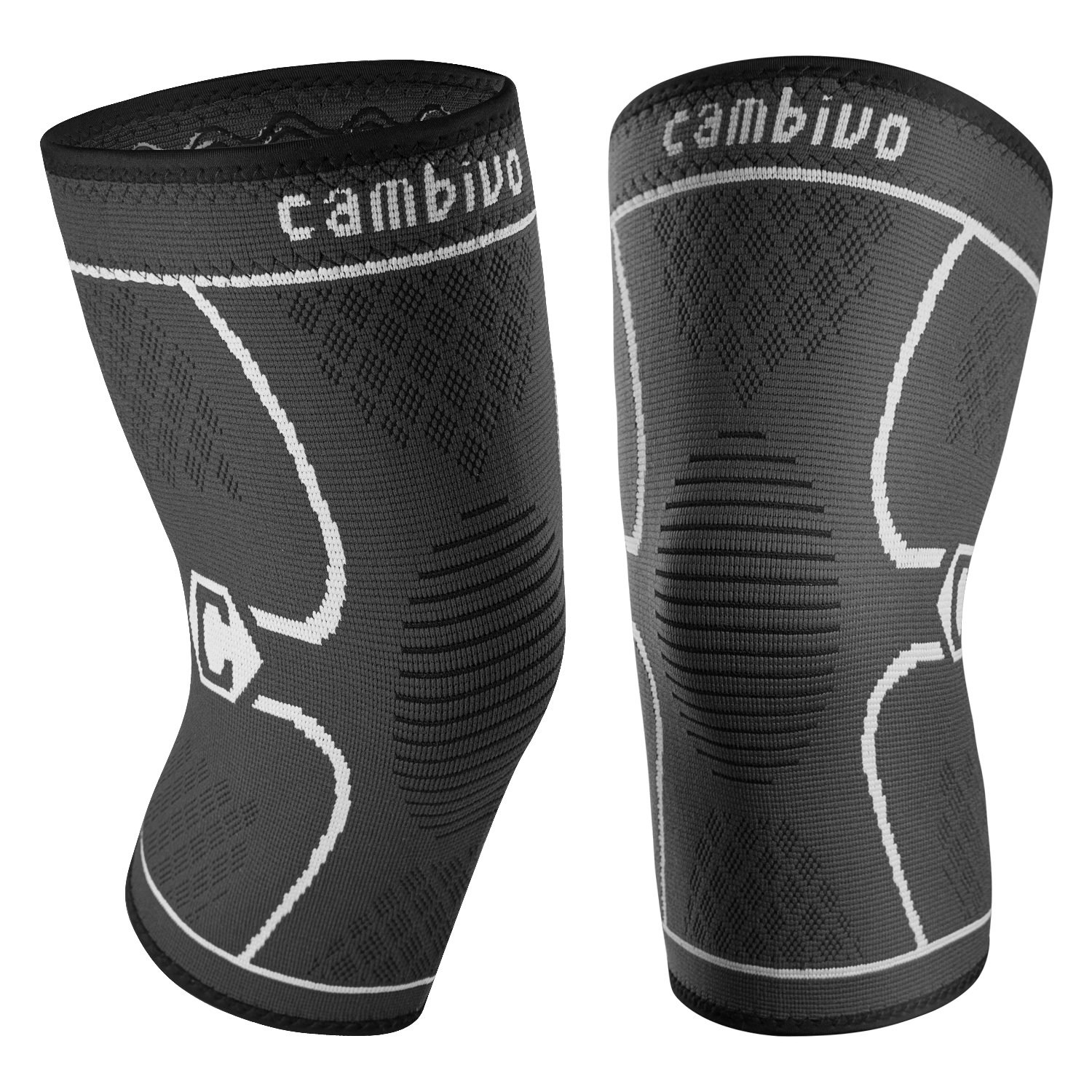Cambivo 2 Pack Knee Brace, Knee Compression Sleeve Support for Running, Arthritis, ACL, Meniscus Tear, Sports, Joint Pain Relief and Injury Recovery (Large, Black/Gray) by CAMBIVO (Image #1)