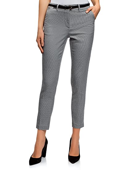 oodji Collection Mujer Pantalones de Jacquard con Cinturón  Amazon.es  Ropa  y accesorios 1e7de6e8c3d