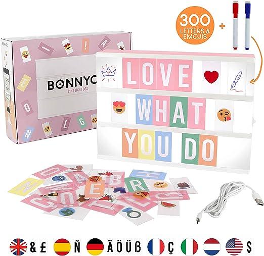 Caja de Luz A4 Rosa con 300 Letras, Divertidos Emojis y 2 ...