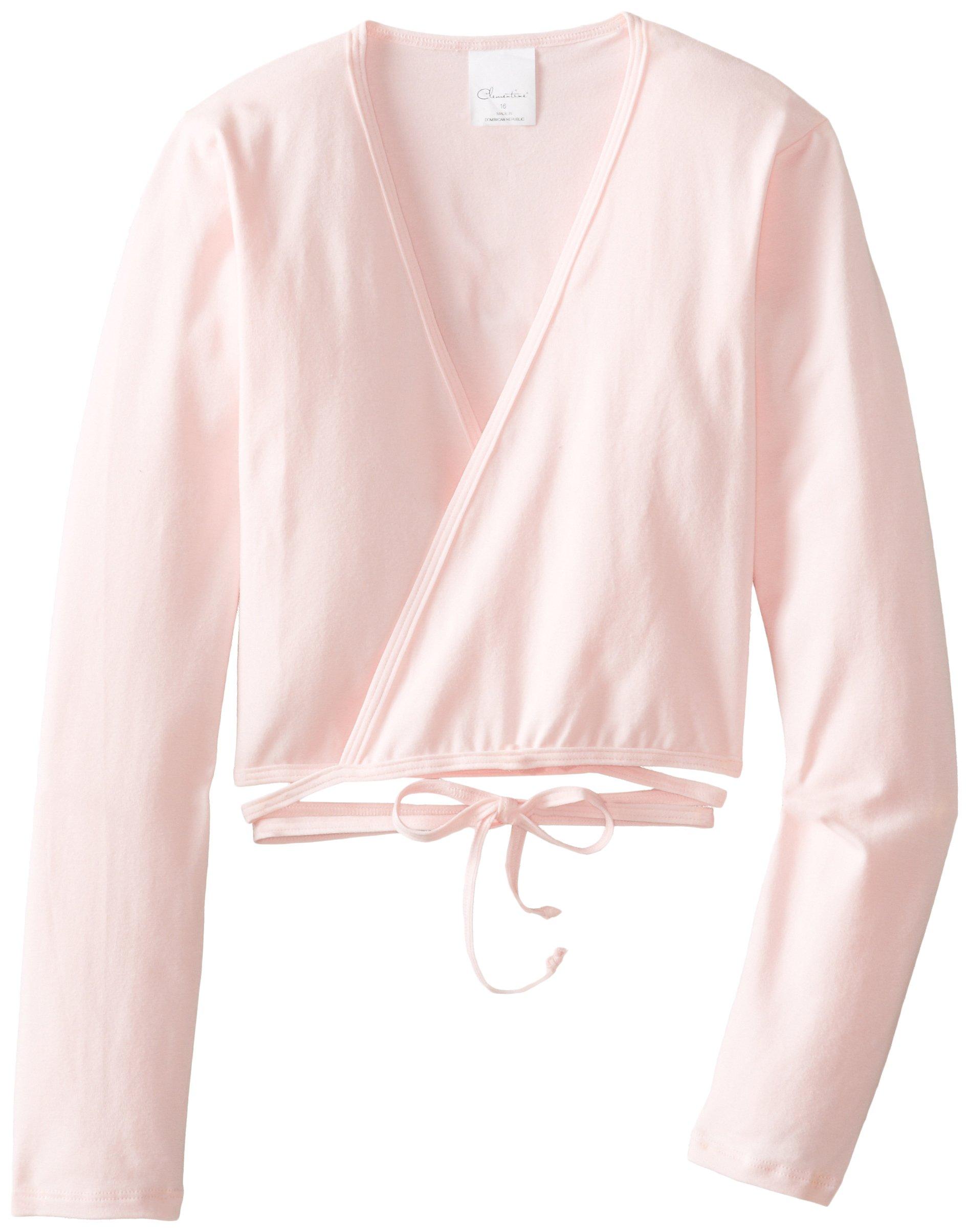 Clementine Little Girls' Long Sleeve Wrap Sweater, Light Pink, 4-6