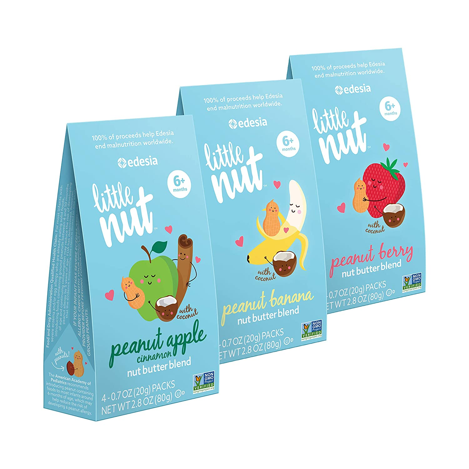 Little Nut Peanut Nut Butter Blend Variety Pack, Baby and Toddler Snacks, Non-GMO, Reduce Risk of Peanut Allergy, 12 Count Edesia