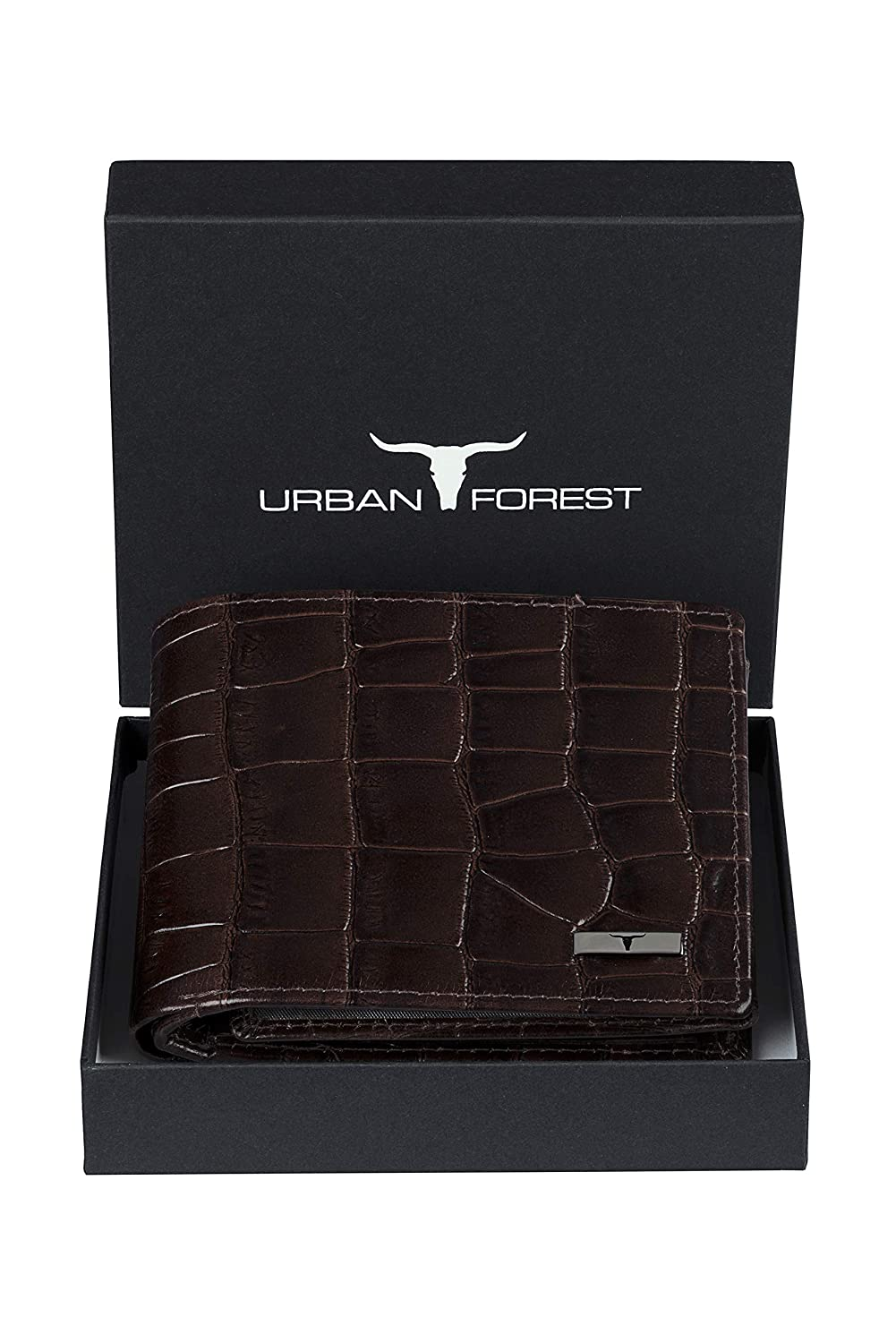 Urban Forest Brown Croco Print Leather Wallet for Men