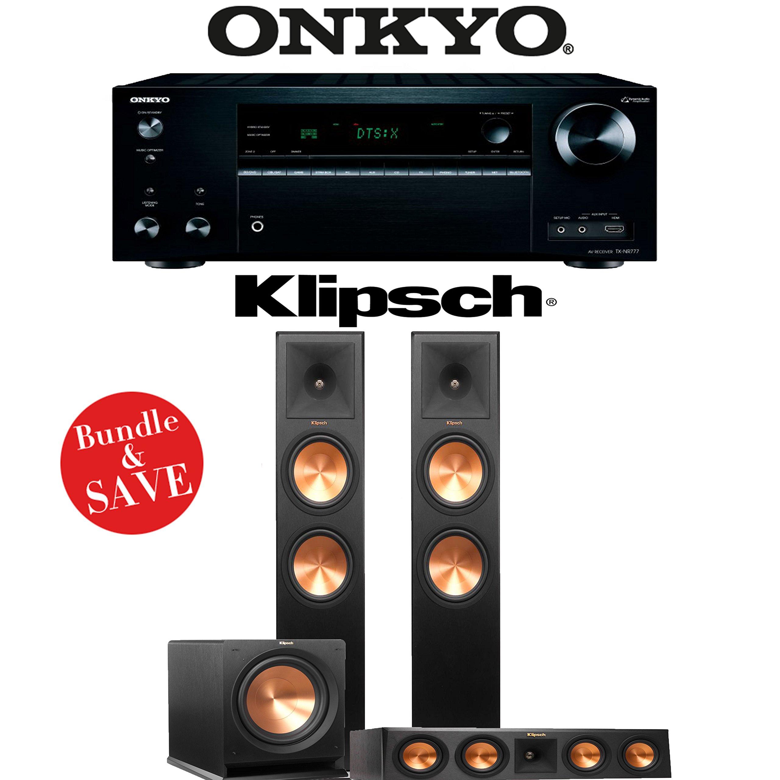 Onkyo TX-NR777 7.2-Channel 4K THX Certified Network A/V Receiver + Klipsch RP-280F + Klipsch RP-450C + Klipsch R-112SW - 3.1-Ch Home Theater Package by Klipsch
