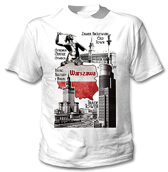a6c7c9054c17 Amazon.com  Teesquare1st Men s WARSAW SYMBOLS POLAND White T-Shirt ...