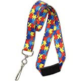 Red Autism Awareness Flat Breakaway Lanyard With Swivel Hook by Specialist ID