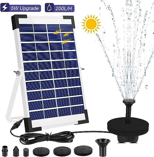 AIMTOP Solar Fuente Bomba, 5W Bomba de Agua Solar Fuente de Jardín Solar, Fuente Flotante Solar on 5 Boquillas y Soporte, Bomba Solar para Estanque, Jardin, Baño de Aves, Fish Tank: Amazon.es: