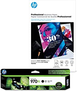 HP 970XL Black Ink + HP Professional Business Paper, Glossy, Inkjet, 11x17, 150 sheets