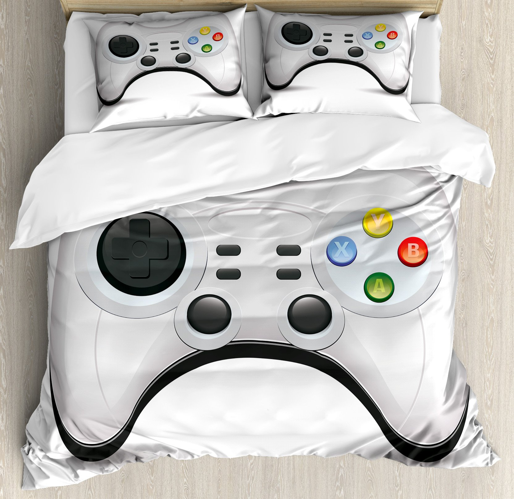 Lunarable Gamer King Size Duvet Cover Set, Modern Gamepad Concept Design with Colorful Action Buttons with Joysticks and D-Pad, Decorative 3 Piece Bedding Set with 2 Pillow Shams, Multicolor
