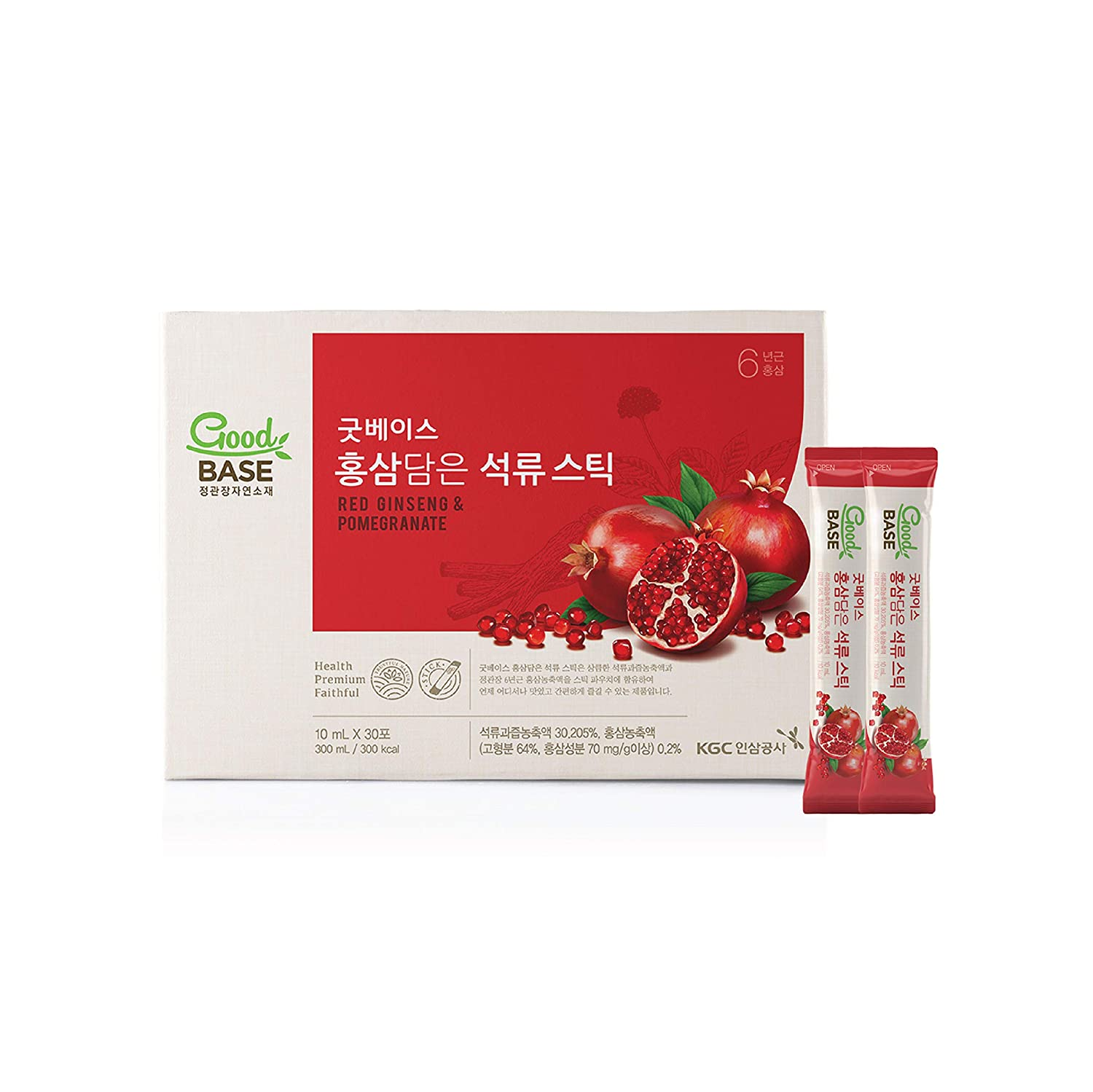 Good Base Fruity Superfood Sticks (Pomegranate)   Delicious Wellness Beverage with 6 Years Grown Korean Red Panax Ginseng Root Extract   Light and Compact Liquid Sticks   Vegan, Non-GMO, Gluten-Free, No Artificial Coloring or Preservatives - 30 count(0.34 fl oz)