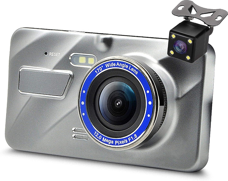 Front and Rear Parking Monitor G-Sensor Wide Angle Dash Camera MuMn 4.0 FHD 1080P Car Dash Dual Cam Motion Detection Night Vision Loop Recording Car DVR WDR
