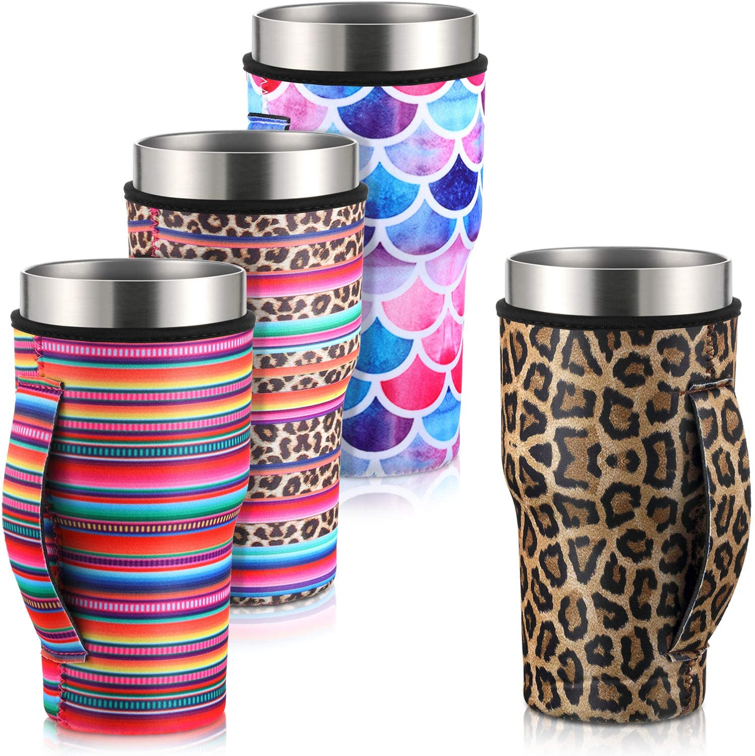 4 Pieces Iced Coffee Cup Sleeve Reusable Neoprene Insulated Sleeves Cup Cover Holders Drinks Sleeve Holder for 30-32 oz Cold Hot Beverages, 4 Styles
