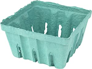 Green Molded Pulp Fiber Produce Vented Berry Basket 1/2 Pint for Packaging Fruits and Veggies by MT Products - (15 Pieces)