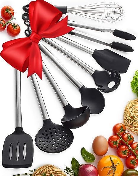 Amazon Com Kitchen Utensil Set 8 Piece Non Stick Cooking Utensils