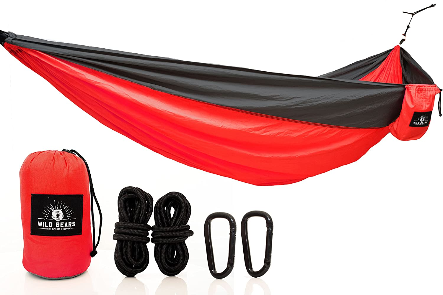 Wild Bears 1 Double Camping Hammock ON SALE Best Quality Hammocks for 2 Person Lightweight, Portable, Parachute Nylon for Outdoors, Backpacking, Travel, Beach, Hiking, Yard, Garden 118 x 78 in