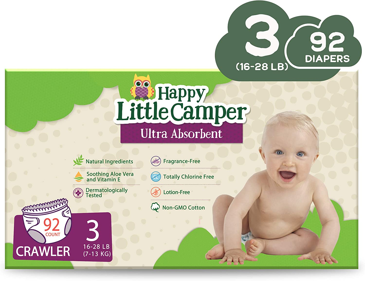 92 Count Size 3 Happy Little Camper x Hilary Duff Ultra-Absorbent Hypoallergenic Natural Baby Diapers with Bio-Core Blend and Strong Latex and Chlorine-Free Protection