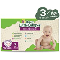 Happy Little Camper Ultra Absorbent Premium Natural Nappies, Crawler, Size 3 (7-13 kg), 92 Count