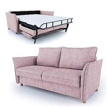 Place To Be Hochwertiges Schlafsofa 160 Cm Liegeflache Matratze Lattenrost Einfach Ausklappbar Altrosa Rosa Antifleck 16 Farben